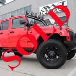 2015 RED JEEP WRANGLER UNLIMITED SPORT WITH 4″ LIFT AND 37″ TIRES